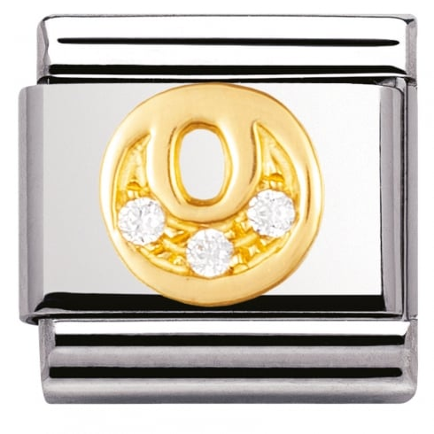 Nomination COMPOSABLE Classic LETTERS in stainless steel with 18k gold and Cubic Zirconia (15_O)