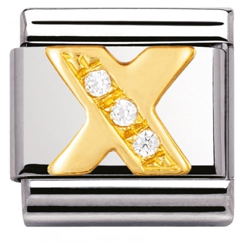 Nomination COMPOSABLE Classic LETTERS in stainless steel with 18k gold and Cubic Zirconia (24_X)