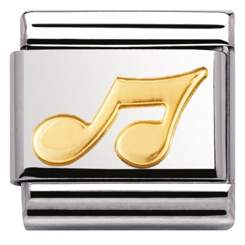 Nomination COMPOSABLE Classic MUSIC in stainless steel with 18k gold (02_Musical Note)