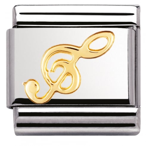 Nomination COMPOSABLE Classic MUSIC in stainless steel with 18k gold (08_Treble clef)