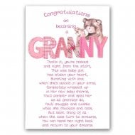 Congratulations On Becoming A Granny New Baby Girl Card