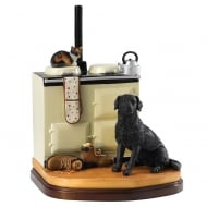 Cosy Warm Black Labrador & Cat Figurine