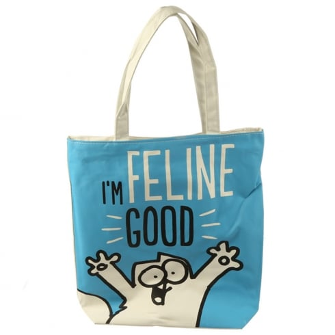 Puckator Cotton Zip Up Shopping Bag - Simons Cat Im Feline Fine