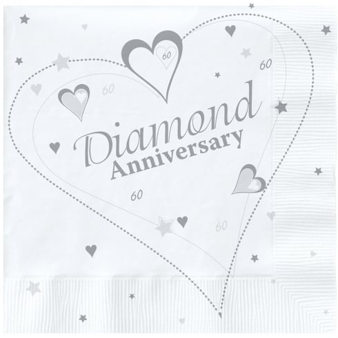 Creative Party Diamond (60th) Anniversary Party Napkins 2 Ply