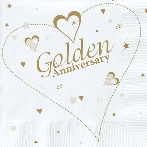 Creative Party Golden (50th) Anniversary Party Napkins 2 Ply