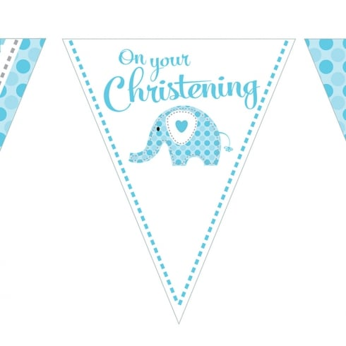 Creative Party Sweet Baby Elephant Blue Christening Flag Bunting Banner 12ft