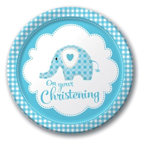Creative Party Sweet Baby Elephant Blue Christening plates 8pk