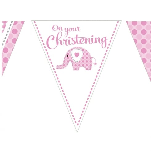 Creative Party Sweet Baby Elephant Pink Christening Flag Bunting Banner 12ft