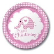 Creative Party Sweet Baby Elephant Pink Christening plates 8pk