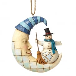 Crescent Moon Snowman Hanging Ornament
