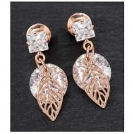 Crystal & Leaf Earrings