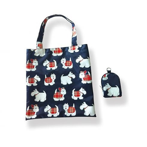 D & C Tartan Terrier Folding Shopping Bag