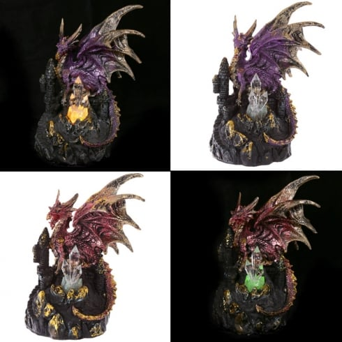 Puckator Dark Legends Dragon On Castle with LED Crystal