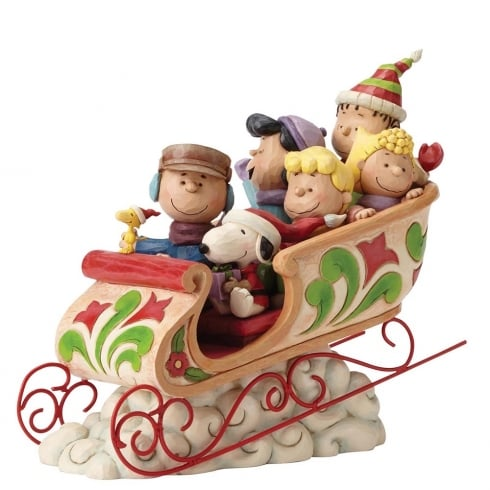 Jim Shore - Peanuts Dashing Through The Snow Charlie Brown and Peanuts Gang Figurine