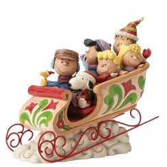 Dashing Through The Snow Charlie Brown and Peanuts Gang Figurine