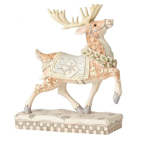 Jim Shore Heartwood Creek Dashing to Deliver White Woodland Reindeer
