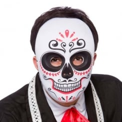 Day Of The Dead Mask Full Face Black/Red