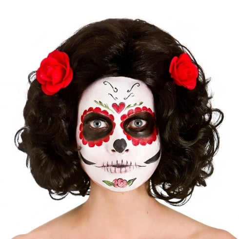 Day of the Dead Senorita Wig with Flowers