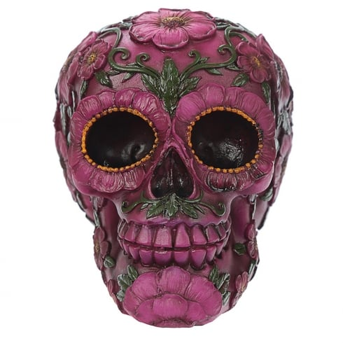 Puckator Day Of The Dead Skull Head With Pink Floral Motif