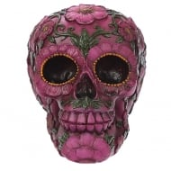 Day Of The Dead Skull Head With Pink Floral Motif