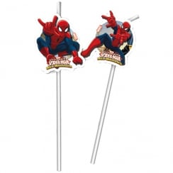 Decorata Party Marvel Spider-man Drinking Straws 6 pack