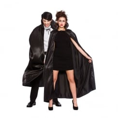 Deluxe Satin Cape with Collar Black