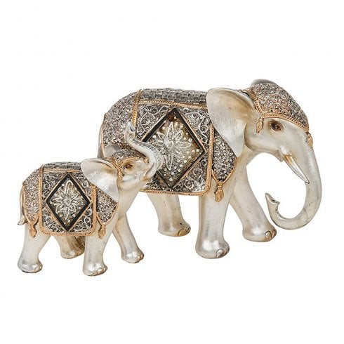 Shudehill Giftware Diamond Crackle Elephant Mum & Baby