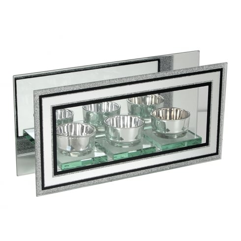 Hestia Crystal Border Glass Tealight Holder 12cm