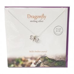 Dragonfly With Amber Crystal Pendant