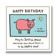 Edward Monkton - Pig of Happiness Birthday Card SF802A