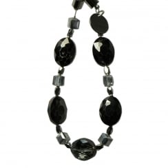 Electroplated Black Crystal & Glass Bracelet