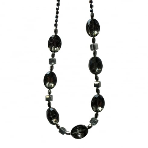 Arran Bay Electroplated Black Crystal & Glass Necklace