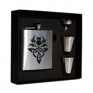Engraved Stainless Steel 6oz Hip Flask Box Set Lion Rampant