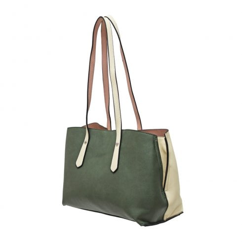 Envy Bags Envy 171 Shoulder Bag With Contrast Panels Khaki