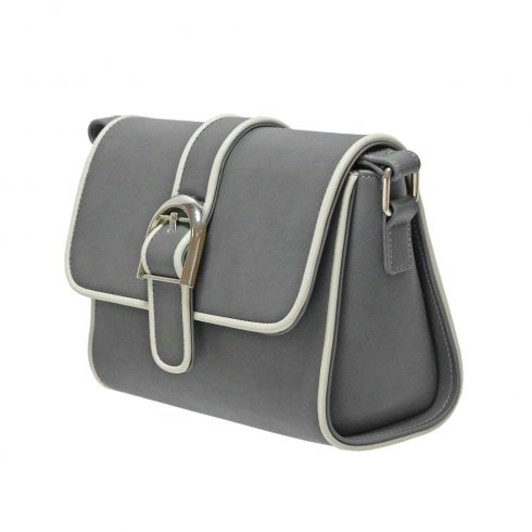 Envy Bags Envy 176 Flap Over Satchel With Contrast Piping Black