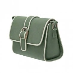 Envy 176 Flap Over Satchel With Contrast Piping Khaki