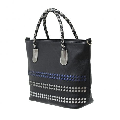 Envy Bags Envy 183 Zip Top Grab Bag With Colour Weave Detail Black