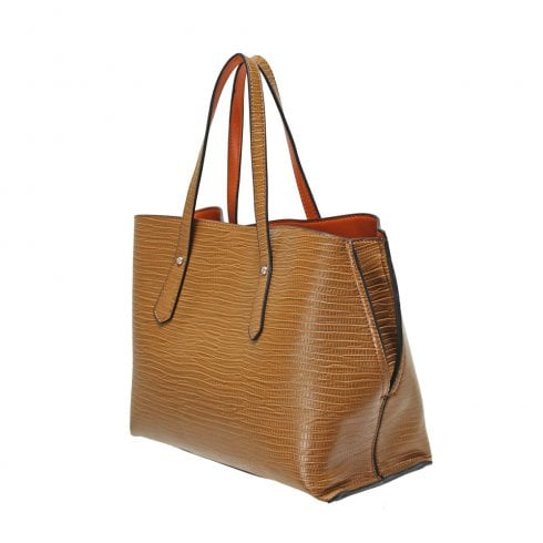 Envy Bags Envy 186 Shoulder Bag With Snake Skin Effect Tan