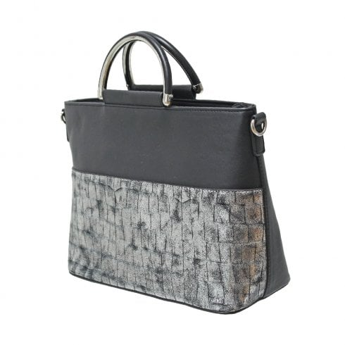 Envy Bags Envy 189 Zip Top Grab Bag With Metallic Croc Panel Black