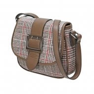 Envy 195 Flap Over Tweed Print Satchel With Buckle Detail Brown