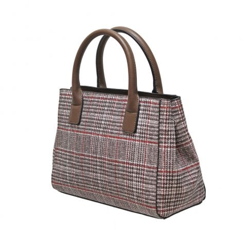 Envy Bags Envy 196 Zip Top Tweed Print Grab Bag With Detachable Shoulder Strap Brown