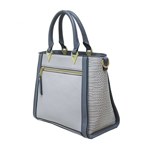 Envy Bags Envy 701 Zip Top Grab Bag With Croc Fabric Gussets Grey