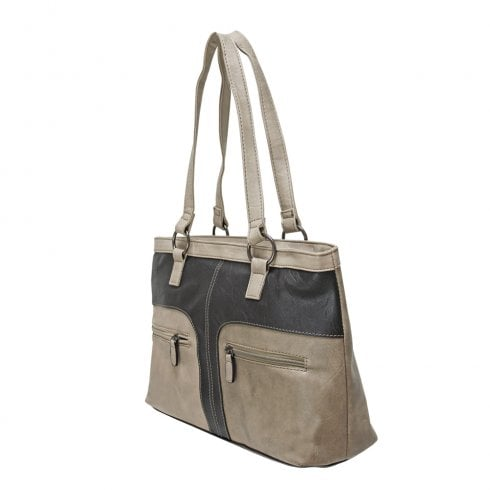 Envy Bags Envy Amy Multi Colour Shopper Shoulder Bag Taupe