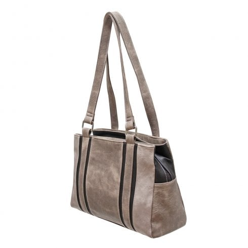 Envy Bags Envy Ellie Multi Colour Triple Zip Top Shoulder Bag Taupe