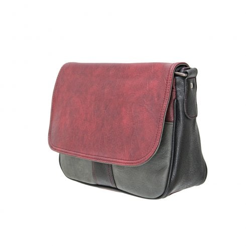 Envy Bags Envy Laura Flap Over Shoulder Bag With Adjustable Strap Burgundy