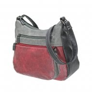 Envy Millie Double Front Pocket Shoulder Bag Burgundy