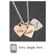 3 Tone Hearts Necklace Live Laugh Love