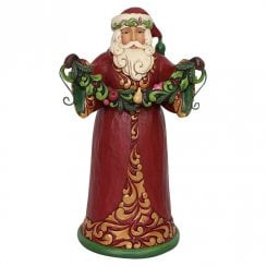 Evergreen Cheer Red & Green Santa Holding Garland