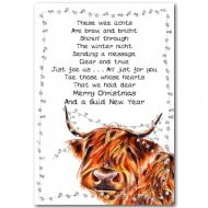 Fairy Lights Highland Cow Christmas Card