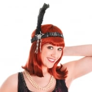 Flapper Headpiece Black Feathers
